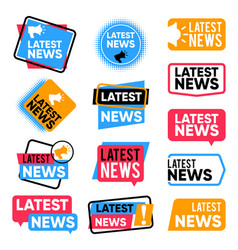 latest news labels information banners with vector image