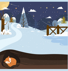 Let it snow fox sleeping in a hole holiday vector