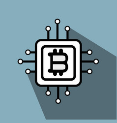 Line icon circuit bitcoin money currency vector