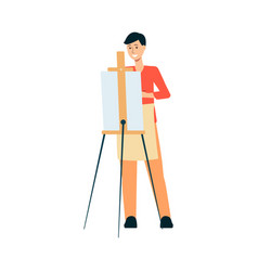 man in apron standing behind easel and painting on vector image
