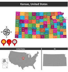map of kansas us vector image