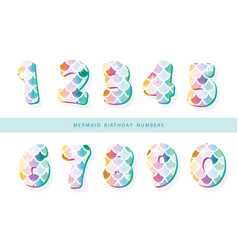 Mermaid scale numbers for girls birthday design vector