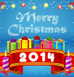 Merry Christmas Big red ribbon vector image vector image