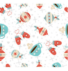 merry christmas winter holiday seamless pattern vector image