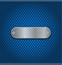 Metal oval plate on blue perforated background vector