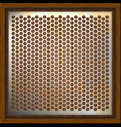 metal perforated background wooden boards vector image