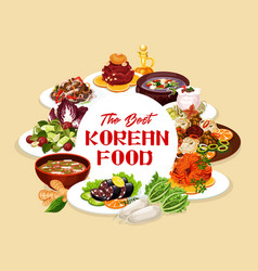 National dishes korean cuisine meat and fish vector