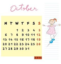 October 2014 kids calendar vector