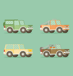off road car set isolated on color background flat vector image