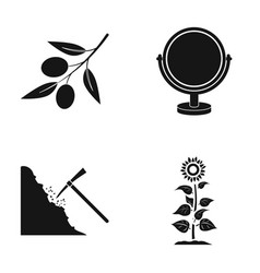 olive mirror and other web icon in black style vector image