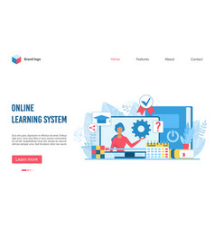 online learning educational system flat vector image