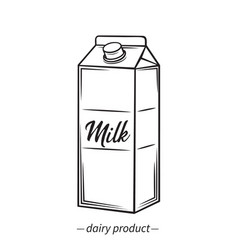 outline milk carton icon vector image