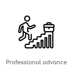 Outline professional advance icon isolated black vector