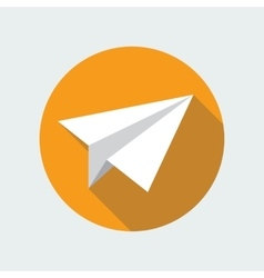 Paper plane flat icon origami airplane vector