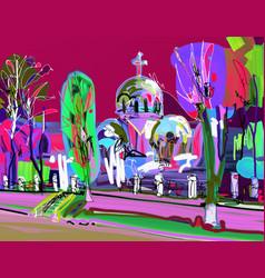 Plein air contemporary creative artwork vector