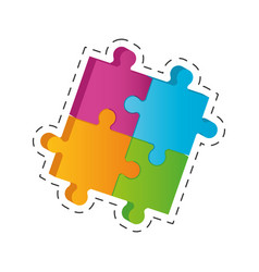 puzzle solution image cut line vector image