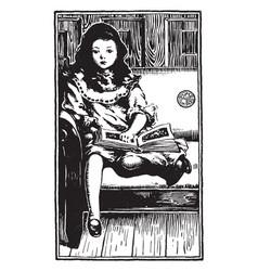 Reading a storybook sitting vintage engraving vector
