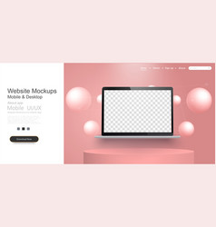 realistic modern laptop isolated on coral vector image