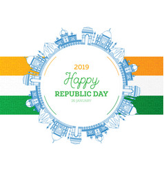 Republic day in india 26 january and indian flag vector