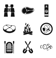 roasted meat icons set simple style vector image