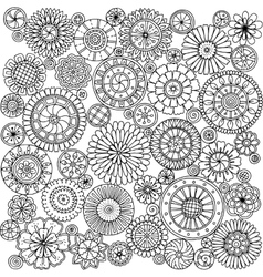 Seamless asian ethnic floral mandala doodle black vector