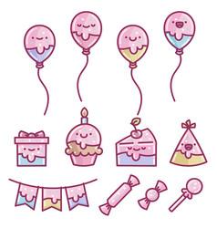 Set birthday cake party element designs vector