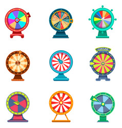 Set isolated wheels fortune icons for casino vector
