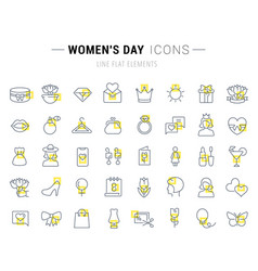 set line icons womens day vector image
