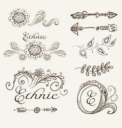 Set of ethnic elements on a beige background vector image