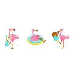 Set pink flamingo play ukulele float vector