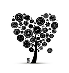 Sew with love tree with buttons sketch for your vector