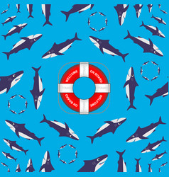 sharks circling around the lifebuoy from titanic vector image