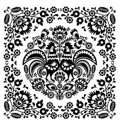 Sqaure-polish-folk-pattern-1b-monochrome vector