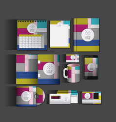 Stationary templates with texture colours business vector