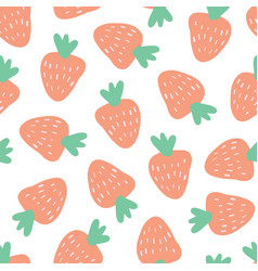 strawberry background seamless pattern vector image