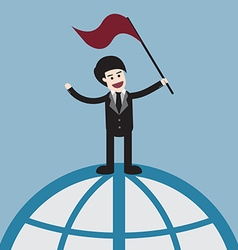 success businessman on world vector image