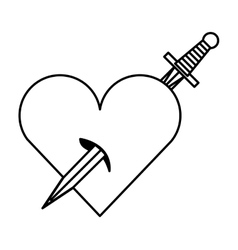 sword drawing tattoo style isolated icon vector image