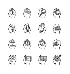 symbol human mind black thin line icon set vector image