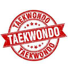taekwondo round grunge ribbon stamp vector image