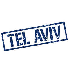 Tel aviv blue square stamp vector
