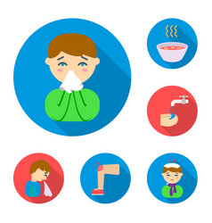 the sick man flat icons in set collection for vector image