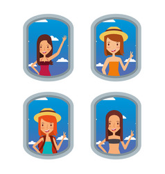 tourist women looking airplane in window travel vector image