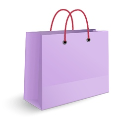 Violet paper shopping bag with yellow rope grips vector image