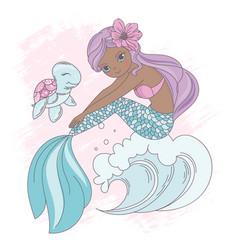 wave mermaid underwater princess walk vector image
