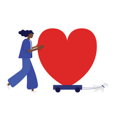woman and her dog are moving the heart on the vector image