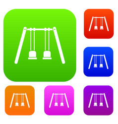 wooden swings hanging on ropes set collection vector image