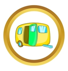 Yelllow camping trailer icon vector