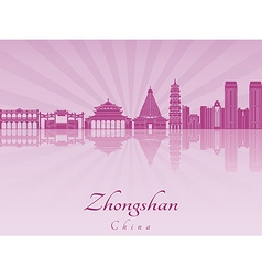 Zhongshan skyline in purple radiant orchid vector