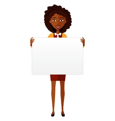 African american woman holding sign or banner vector image vector image