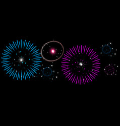 colorful fireworks on night sky new year vector image vector image
